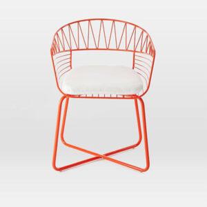turuncu kafes tel sandalye