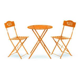 turuncu metal masa sandalye takımı